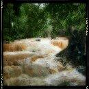 The raging waterfall